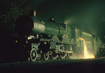 It's chucking out time for 5029 'Nunney Castle' during a photographic evening at Didcot. 30/10/92