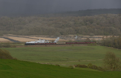 "Inbetween wintry showers 44871 hauls ""The Great Britain IX"" at Black Dyke heading for Grange over Sands, 28/4/16."