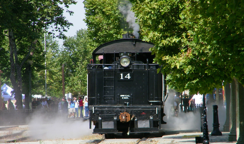 No. 14 blows off some steam in preparation for backing to couple up with the day's excursion consist.