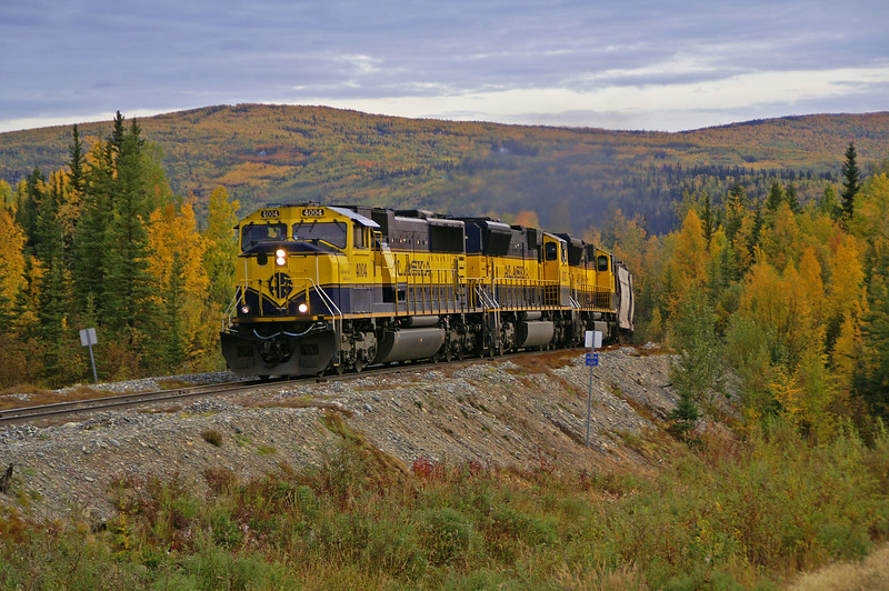 Just a few miles from the end of their overnight run from Anchorage, this train is on the outskirts of Fairbanks, Alaska
