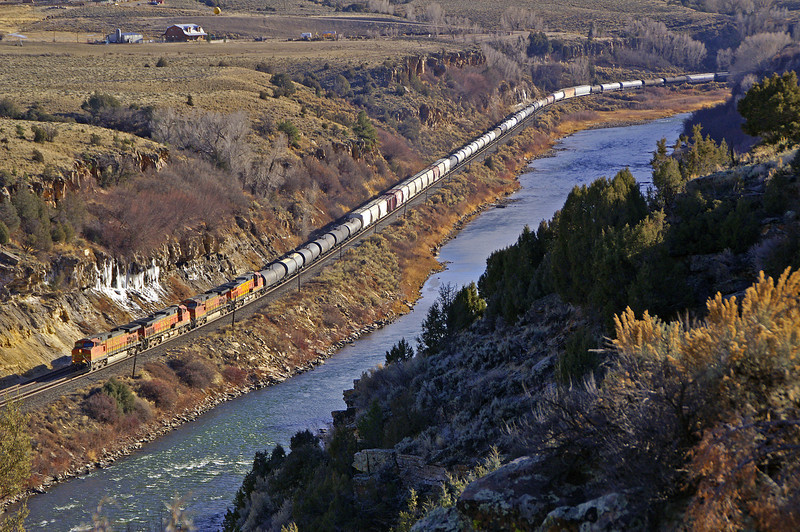 In an area not often photographed a BNSF train is along the Colorado River at Dell, CO on the former Rio Grande Dotsero Cutoff.