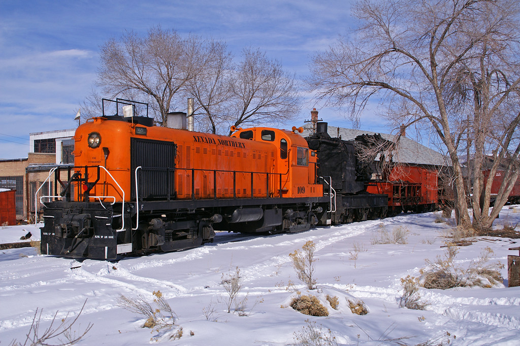 Nevada Northern RS3 is ready to depart Ely, NV with a work train headed for Ruth, NV