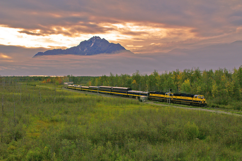 An erie sky greets todays northbound travelers at Matanuska Junction. This train is headed for Fairbanks, Alaska and is a fantastic ride.