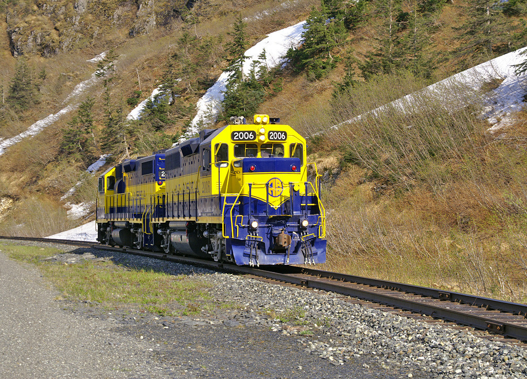 Alaska Railroad Geeps prepare to depart Whittier, AK on a very nice Spring day.