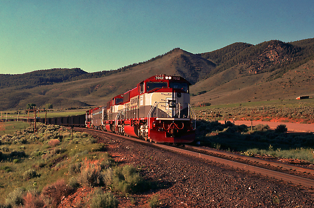 EMD demonstrators are touring on Rio Grande's Craig Branch. Seen here at Crater, CO