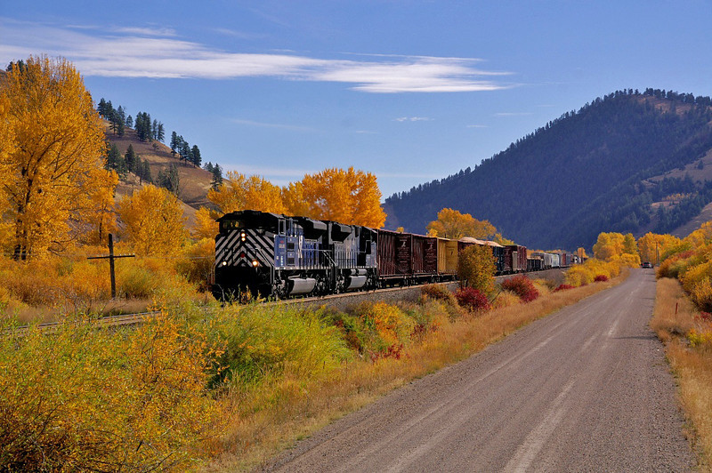 MRL's westbound LM is rolling through some spectacular fall colors on this beautiful fall day.