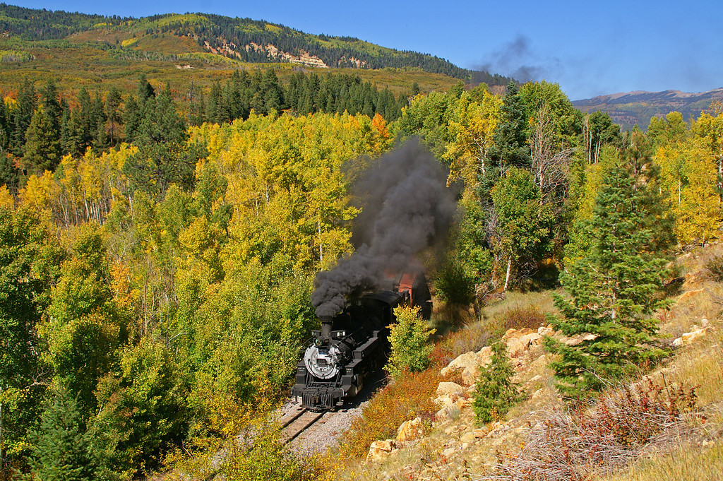 Cumbres & Toltec Scenic Railroad is near the end of the days run as they run through the narrows a few miles out of Chama, NM