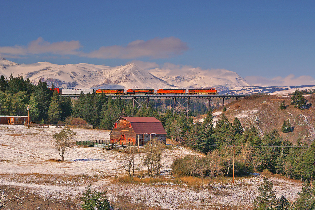 A BNSF eastbound crosses the Two Medicine Bridge just east of East Glazier, Montana.