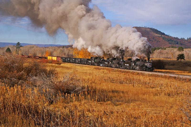In a rare movement a Chama Steam Special runs with all three steam engines on the head end.