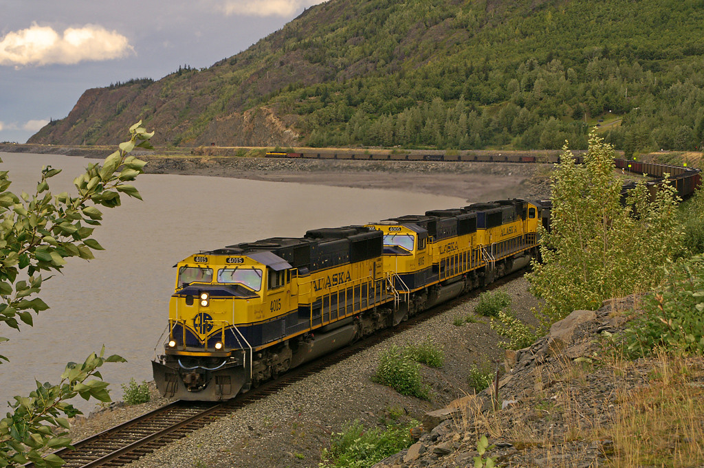 An Alaska Railroad coal trains heads for Seward where the coal will be unloaded from the train and transferred to a ship for export.