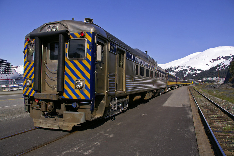 RDC 711 will lead the Glacier Express on the return trip to Anchorage, AK on a beautiful day in Whittier, AK. As I would later find out this isn't a normal occurrence as rain is the norm here.