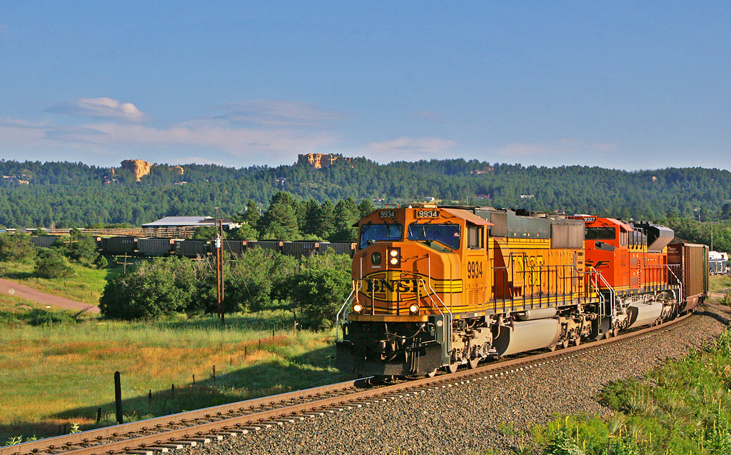 The orange of the BNSF locomotive contrasts nicely with the green surroundings.