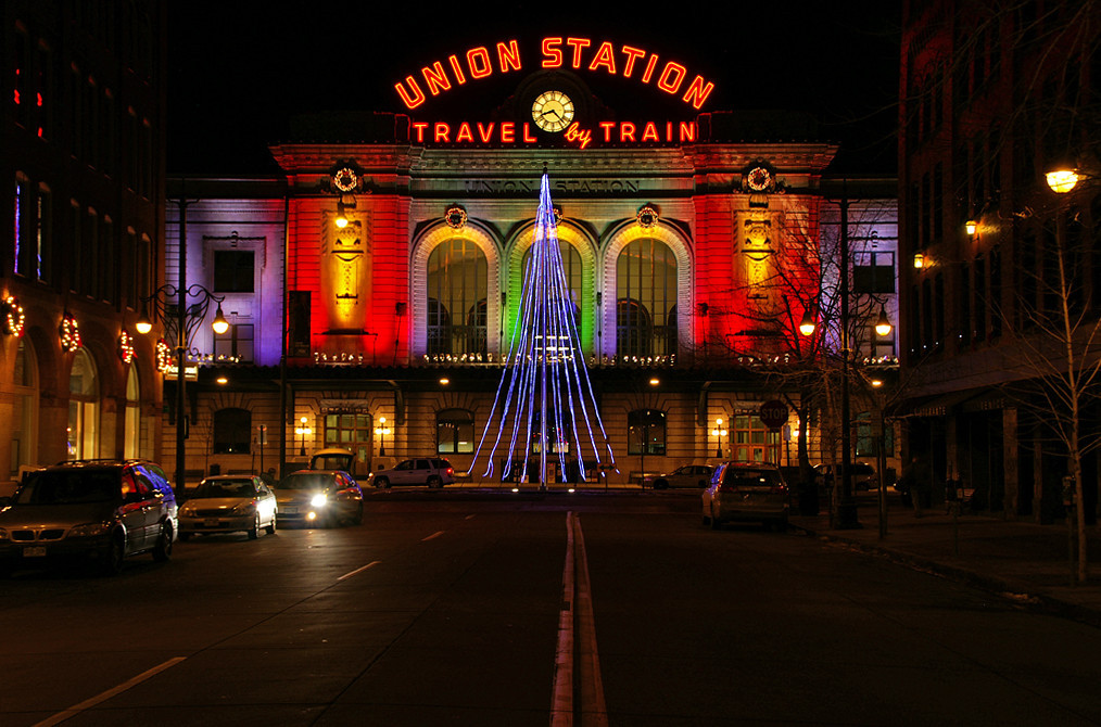 On Christmas night 2008 Denver Union Station is dressed for the holidays.
