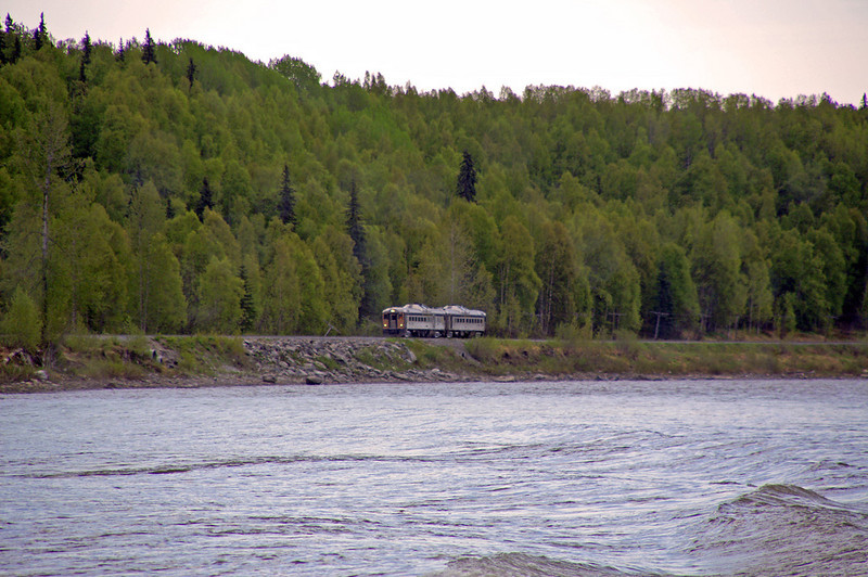RDCs run along the Chulitna River as they north to Hurricane, AK
