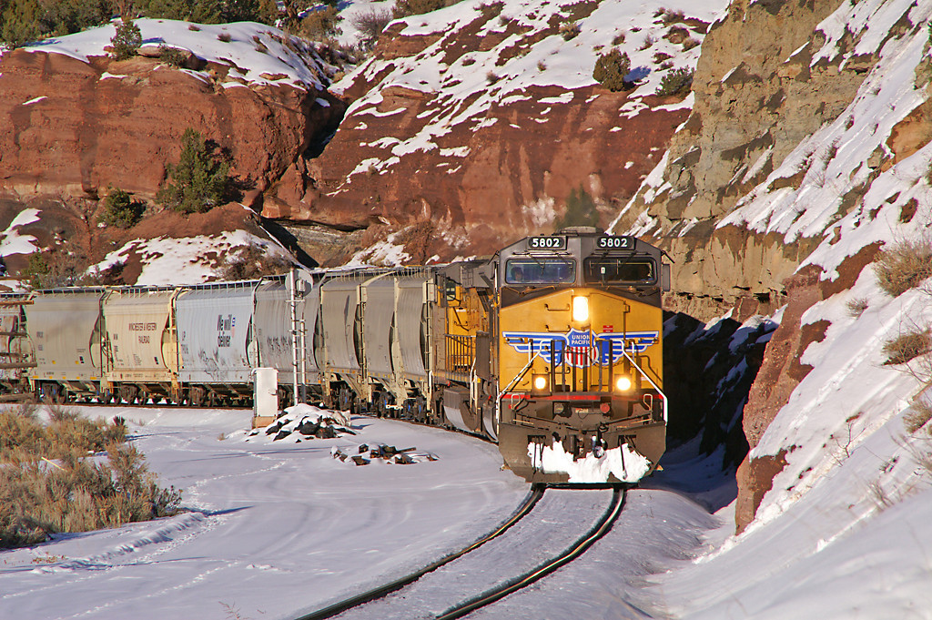 A UP train from Phippsburg, CO is about ready to exit the former Rio Grande Craig Branch near Bond, CO