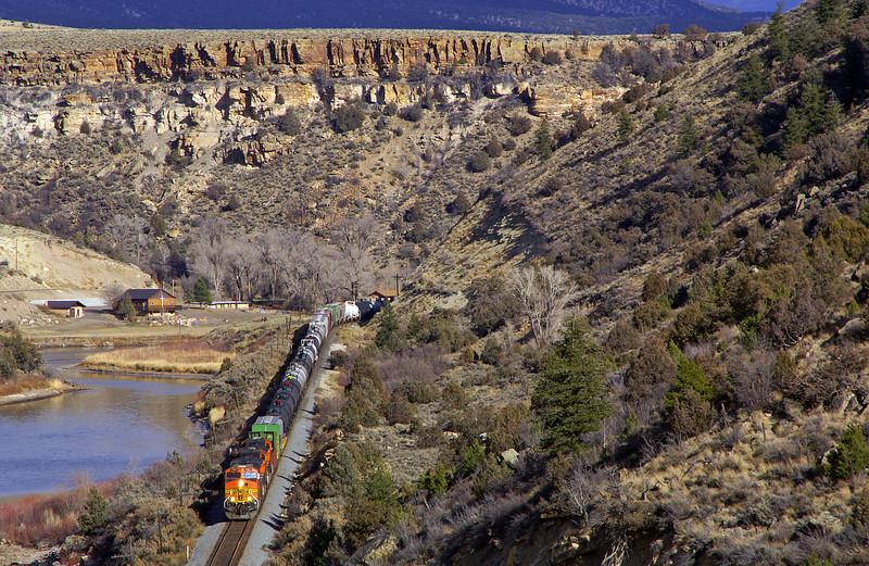 A BNSF trackage rights trains traverses the former Rio Grande's Dotsero cutoff on a beautiful fall day in Colorado.