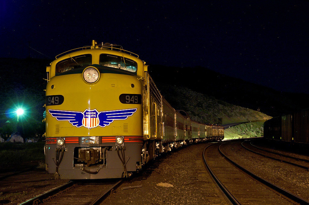 UP's Operation Life Saver train idles the night away in the yard at Phippsburg, CO