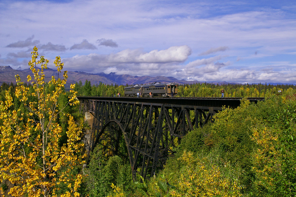 Alaska Railroad's Hurricane Turn sits atop their namesake bridge on a beautiful fall afternoon.