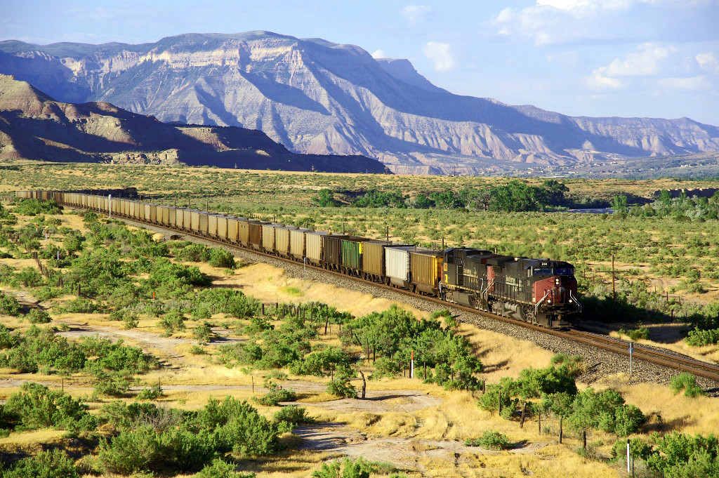 Sometimes the desert area of Colorado is green. A westbound train is seen around Rulison, CO