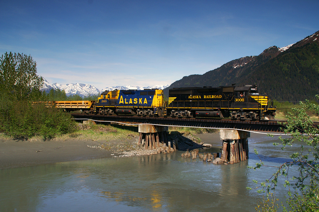 One of Alaska Railroads original GP40s crosses the Portage River. This black and yellow paint scheme is my favorite.