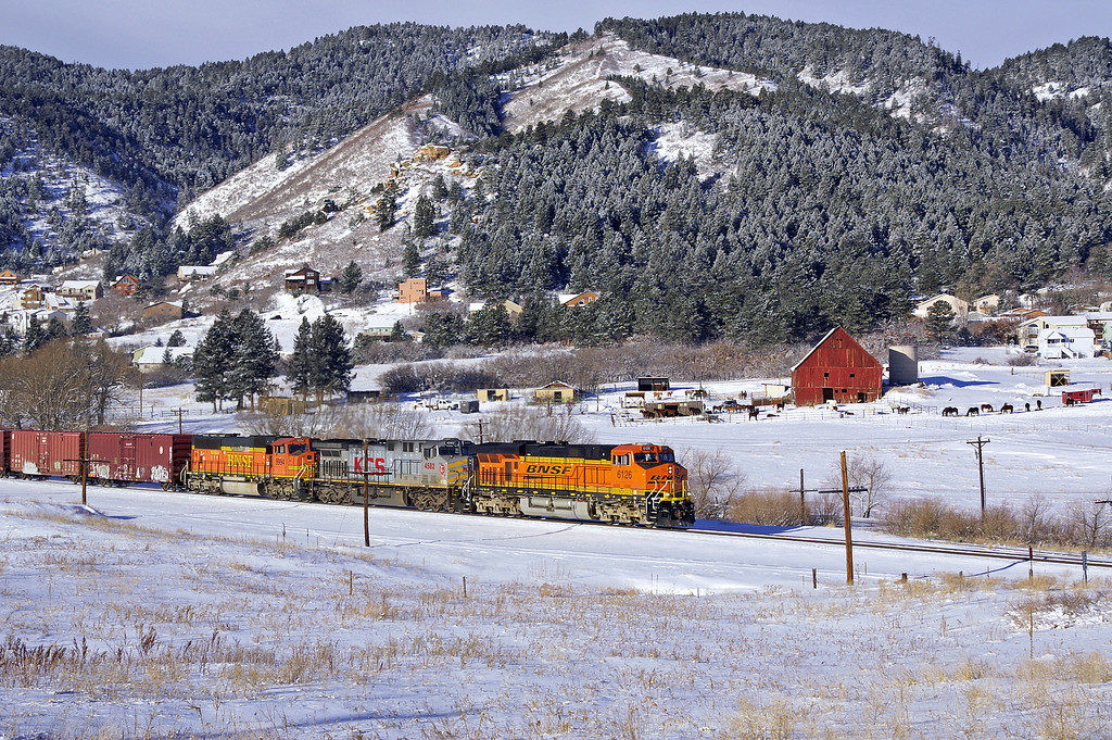 Another northbound manifest crests the Palmer Divide enroute to Denver, CO