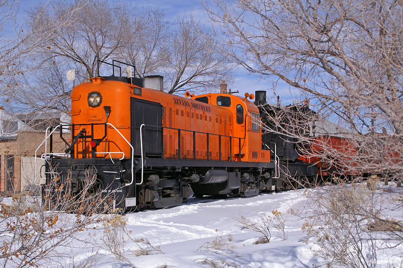 Nevada Northern RS3 is ready to depart Ely, NV with a work train for Ruth.