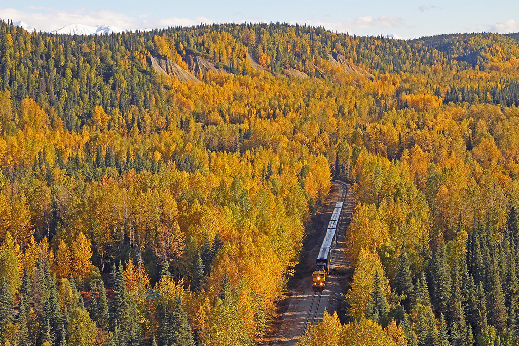 A short train rolls through the fall colors in Honolulu, AK I guess they were dreaming of warmer locales when they named this location.