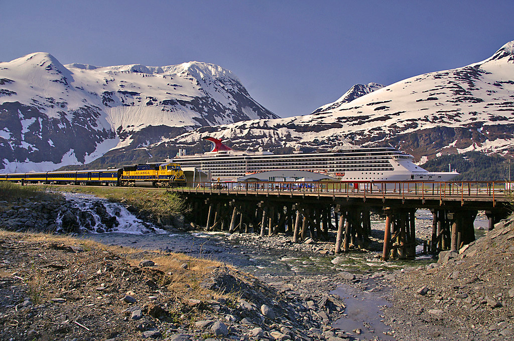 The Alaska Railroad runs more than a few cruise trains to support the cruise ships that call at both Seward and Whittier. These train rides can be as long or as short as the consumer wants. Many will make the journey over almost the entire railroad and head north to Denali Park, others will just ride the train between hear and the airport to fly home, and more will grab the train in Anchorage and ride to their cruise ship in Seward or Whittier. The RR works closely with the cruise lines to make these schedules convenient.