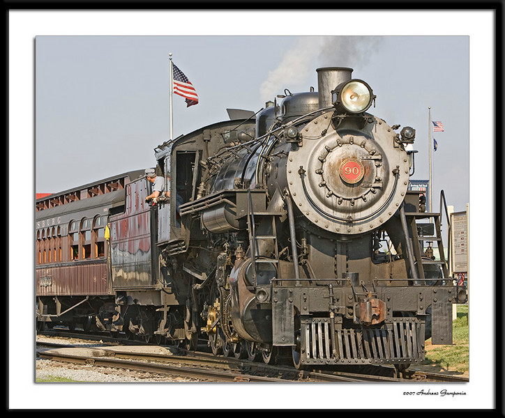 #90 is a Baldwin locomotive built in 1924 for Great Western Railway and is a 2-10-0 configuration locomotive that is beautifully maintained.<br /> <br /> The 2-10-0 is the Whyte notation for classifying steam locomotives by wheel arrangement - Whyte's system counts the number of leading wheels, then the number of driving wheels, and finally the number of trailing wheels, groups of numbers being separated by dashes.