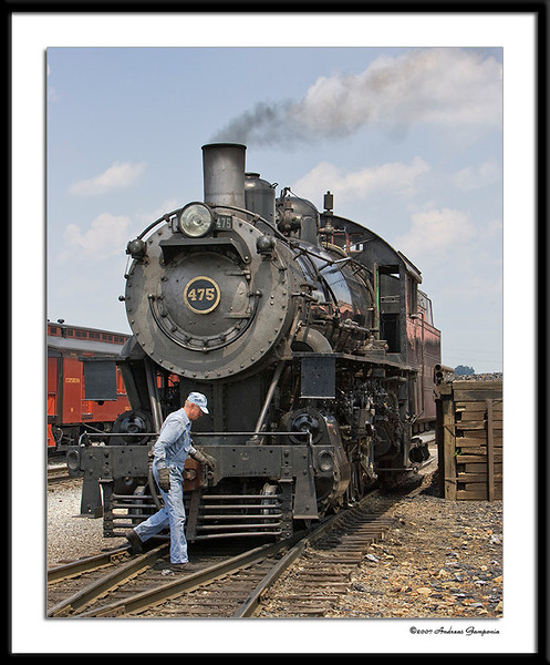 Number #475 is a former Norfolk & Western M class 4-8-0 steam locomotive that was built in 1906 and at over 100 years of age is running beautifully on the Strasburg Railroad line.  She was getting serviced, loaded with coal and was ending her running for this day.