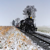 Steam train. Locomotive #90. 2-10-0. Winter. Snow. Lancaster County. PA.