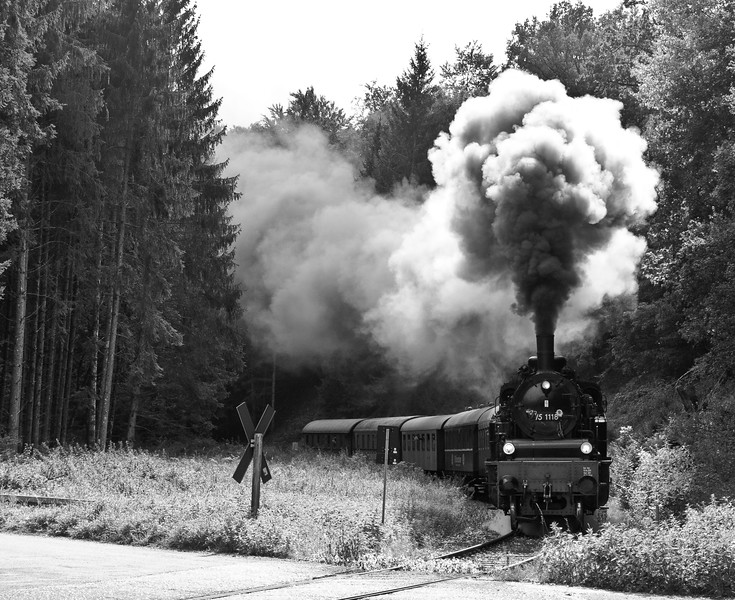 At the other side of the DB station is the Amstetten to Gerstetten station where this beefy tank engine blasts its way through woods onto an upland plateau of immaculate farms and villages.  The Grand Duchy of Baden State Railway procured a total of 135 of these engines between 1914 and 1921. 75 1118 ended its mainline career in 1967 in the GDR.