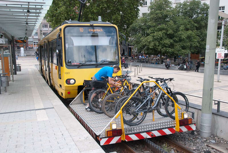 ...and Stuttgart has a rack and pinion railway as part of its regular public transport system complete with bicycle carrier. Shame on anyone who uses it to go down the hill.