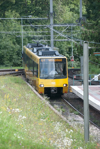 Stuttgart's light rail system isn't afraid of steep hills either. Replaced the regular trams with something more spacious, zippy and generally more segregated.