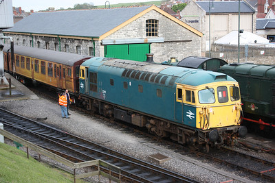 33111 & 4TC 438 Swanage, preparing for the 'Day on the Mule' the folllowing day, 7/5/14