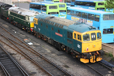 33202 & 33012 (which had arrived back at Swanage earlier that day after 2 years out at Eastleigh Works for new axles/wheels), Swanage 7/5/14