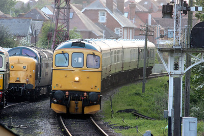33202 arrives at Swanage with 5L00 1840 Corfe Castle - Swanage ECS 8/5/14