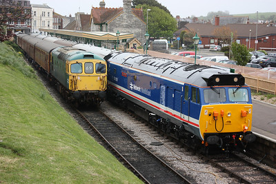 A Day on the Mule at Swanage and a repaired 50026 prepares to depart with 1320 to Norden whilst 33111 waits with the stock for the 1346 to Norden 8/5/14