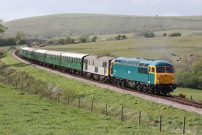 56006 & 73107 cross Corfe Common with 1645 Norden - Swanage 9/5/15