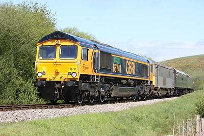 66741 & 73107 cross Corfe Common with 1045 Norden - Swanage 9/5/15