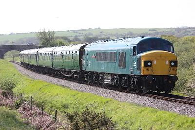 45060 crosses Corfe Common with 1045 Swanage - Norden 9/5/15