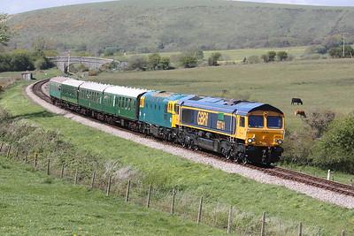 66741 & 33201 cross Corfe Common with 140 Norden - Swanage 9/5/15