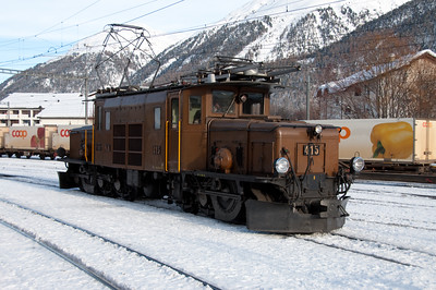 Crocodile 415 stands outside the shed at Samedan 16/1/10.