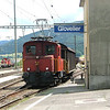 One aspect of Swiss railways is the little shunting tractors at wayside stations. Here a Tem2/2 shunts at Glovelier.