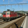 SBB Re4/4 heads a freight at Yverdon-les-Bains