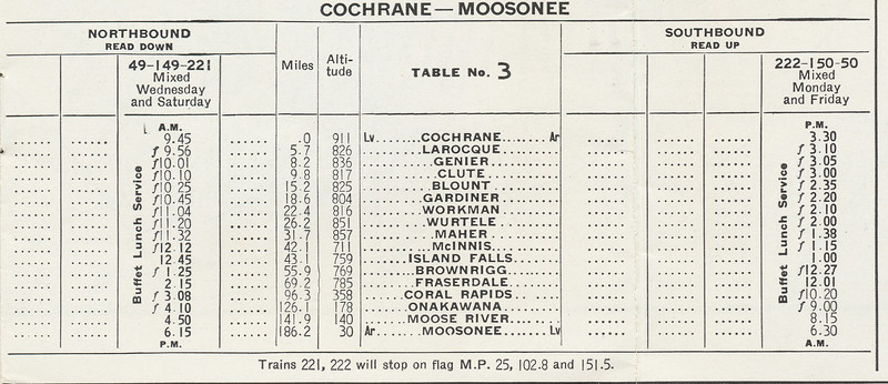 Temiskaming and Northern Ontario Railway timetable. 1945 June 26th. Railway later became the Ontario Northland Railway. Cochrane - Moosonee.