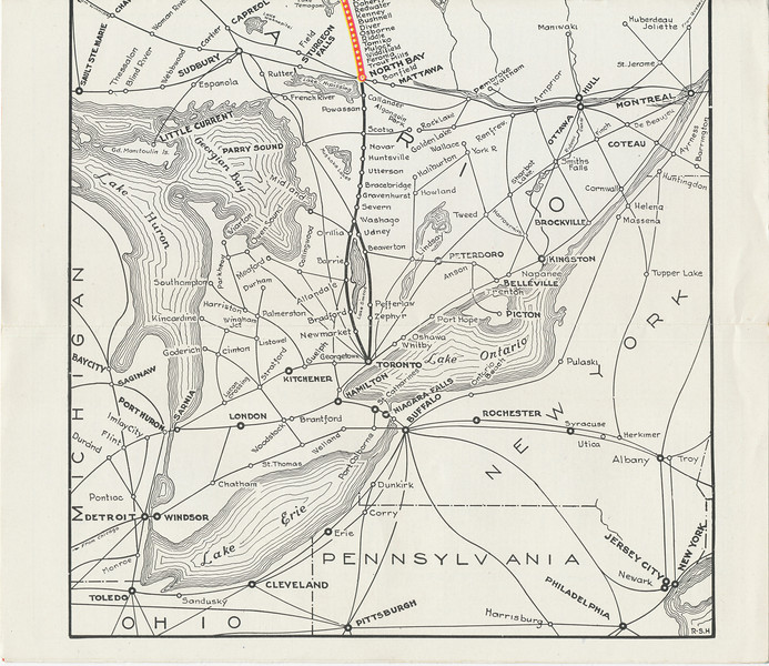 Temiskaming and Northern Ontario Railway timetable. 1945 June 26th. Railway later became the Ontario Northland Railway. Map south.