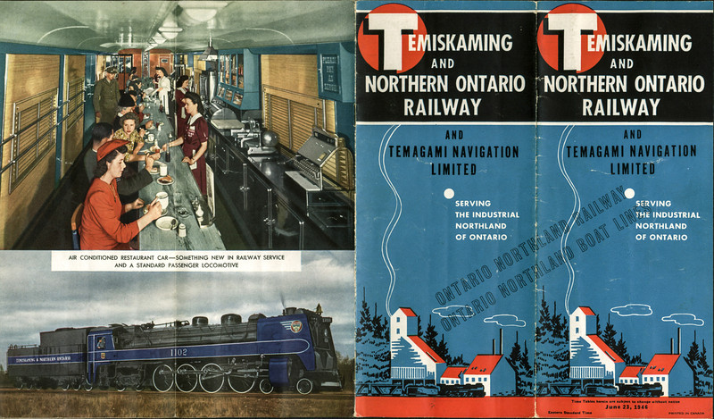 Temiskaming and Northern Ontario Railway timetable 1946 June 23. Overprinted Ontario Northland Railway. Cover and back cover.