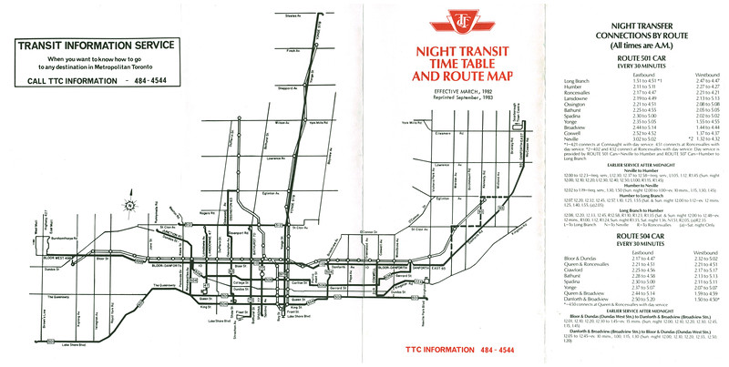 Toronto Transit Night Transit Time Table and Route Map 1982 March reprinted 1983 September. Map, 501 and 504 cars.