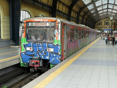 An Athens Metro line 1 service to Kifissia departs from Piraeus. Wednesday 7th June 2016.